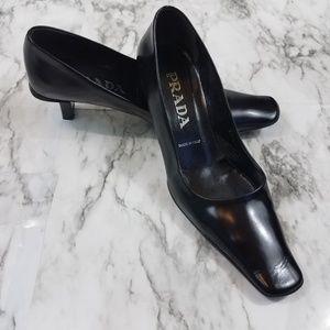 Prada Vintage Black Square Toe Rubber Sole Heels